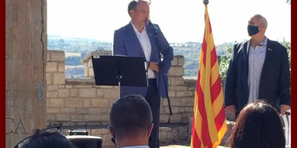 El President, Paco Lluch, i consellers comarcals de la Segarra participen en els actes amb motiu de la diada de l'onze de setembre.