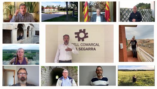 Representants polítics de la comarca de la Segarra elaboren un vídeo per transmetre un missatge d'ànim a la població en la darrera fase de confinament.